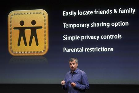 Eddy Cue, Apple's senior vice president of Internet Software and Services, speaks about the ''Find My Friends'' app at Apple headquarters in Cupertino, California October 4, 2011. REUTERS/Robert Galbraith