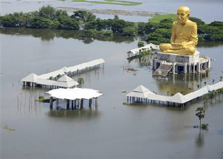 An aerial view of a flooded temple in Ayutthaya province October 15, 2011. REUTERS/Stringer