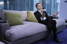 <p>Georgian billionaire Bidzina Ivanishvili speaks during an interview with Reuters at his office in Tbilisi, October 14, 2011. REUTERS/David Mdzinarishvili</p>
