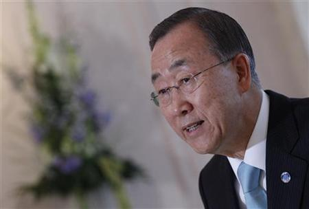 United Nations Secretary General Ban Ki-Moon speaks during a news conference after an official visit in Bern October 17, 2011. REUTERS/Pascal Lauener