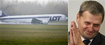 <p>A combination of pictures shows Tadeusz Wrona, pilot of the Boeing 767 of Polish LOT airlines, who made a successful emergency landing on November 1, 2011 in Warsaw airport. No one was hurt when a Boeing 767 flying from Newark, New Jersey, with some 230 people on board, made an emergency landing at Warsaw's airport on Tuesday after trouble with landing gear. REUTERS/Staff</p>