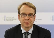 <p>Bundesbank President Jens Weidmann attends a news conference in Berlin October 6, 2011. REUTERS/Fabrizio Bensch (GERMANY - Tags: POLITICS BUSINESS HEADSHOT)</p>