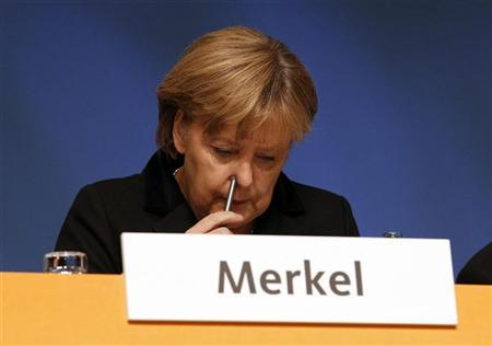 German Chancellor and leader of Germany's conservative Christian Democratic Union (CDU) Angela Merkel attends a party meeting in Leipzig, November 14, 2011. REUTERS/Tobias Schwarz