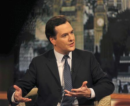 Britain's Chancellor of the Exchequer George Osborne speaks on the BBC's Andrew Marr Show in London November 27, 2011. REUTERS/Jeff Overs/BBC/Handout