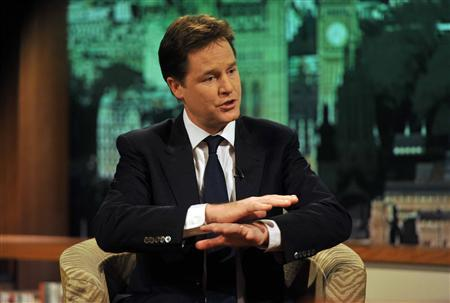 Britain's Deputy Prime Minister Nick Clegg sits on the set of the Andrew Marr political talk show at BBC studios in London December 11, 2011. REUTERS/Jeff Overs/BBC/handout