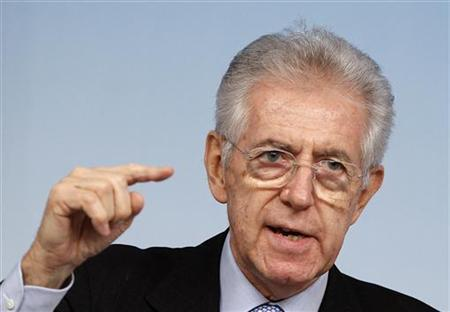 Italy's Prime Minister Mario Monti gestures during a news conference at Chigi Palace in Rome December 15, 2011. REUTERS/Tony Gentile