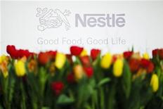 <p>A Nestle logo is pictured before the news conference announcing their 2010 full-year results, at Nestle's headquarters in Vevey, February 17, 2011. REUTERS/Valentin Flauraud</p>