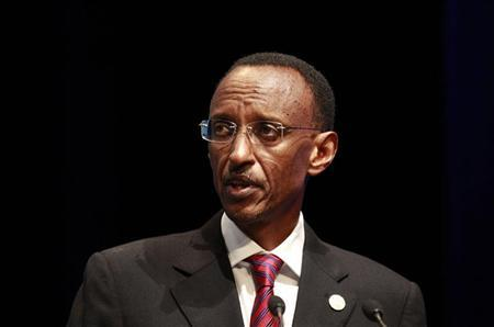 Rwanda's President Paul Kagame addresses the forum ''Africa: Reshaping Partnerships for Sustainable Growth'' at a pre-summit business forum ahead of the Commonwealth Heads of Government meeting (CHOGM) in Perth October 26, 2011. REUTERS/ Daniel Munoz
