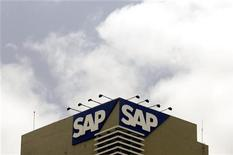 <p>SAP, numéro un mondial des logiciels d'entreprise, a vu son chiffre d'affaires et ses bénéfices progresser au quatrième trimestre. Le bénéfice d'exploitation trimestriel du groupe allemand a crû de 10% à 1,78 milliard d'euros, contre 1,65 milliard attendu. /Photo d'archives/REUTERS/Punit Paranjpe</p>