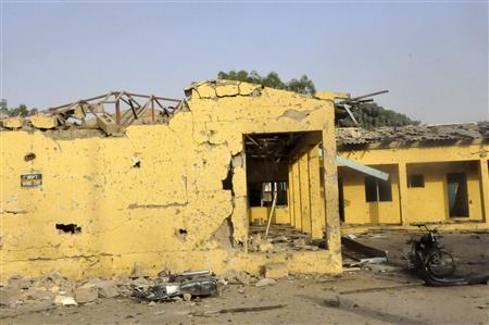 A view of the destroyed police headquarters in Nigeria's northern city of Kano January 22, 2012, following a bomb attack on Friday. REUTERS/Stringer