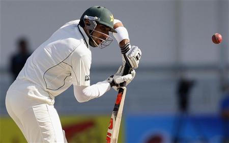 Pakistan's Misbah Ul Haq plays a shot during their first cricket test match against England at Dubai International cricket stadium January 18, 2012. REUTERS/Nikhil Monteiro