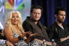 """<p>(L - R)Coach Christina Aguilera answers a question as Blake Shelton and Adam Levine watch during the panel for the NBC television series """"The Voice"""" at the Television Critics Association winter press tour in Pasadena, California January 6, 2012. REUTERS/Mario Anzuoni</p>"""