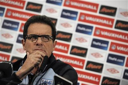 England's manager Fabio Capello reacts during a news conference at Wembley stadium in London, November 11, 2011. REUTERS/Nigel Roddis
