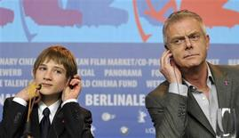 <p>Cast member Thomas Horn and director Stephen Daldry (L) attend a news conference to promote the movie 'Extremely Loud And Incredibily Close' at the 62nd Berlinale International Film Festival in Berlin February 10, 2012. REUTERS/Morris Mac Matzen</p>