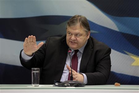 Greece's Finance Minister Evangelos Venizelos addresses reporters during a news conference in Athens February 21, 2012. REUTERS/Yiorgos Karahalis
