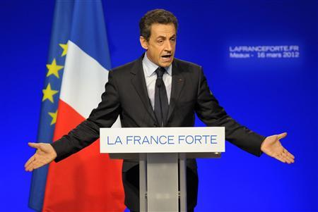 Nicolas Sarkozy, France's President and UMP party candidate for the 2012 French presidential election, delivers a speech at a political rally in Meaux, east of Paris, March 16, 2012. REUTERS/Philippe Wojazer
