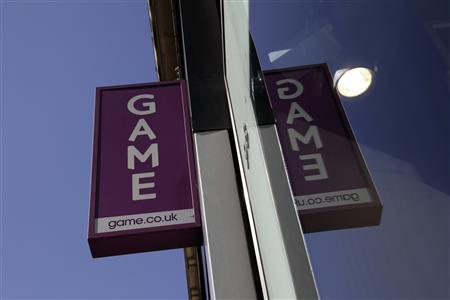 A sign outside a Game store is seen in central London March 26, 2012. Struggling British video games retailer Game said on Monday it has entered administration, becoming the latest household name to fall by the wayside in the consumer downturn. REUTERS/Stefan Wermuth
