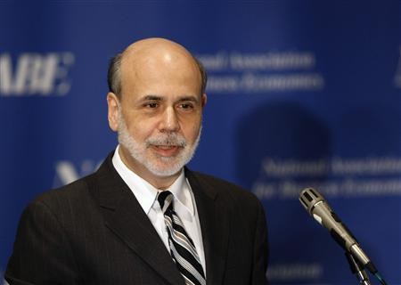 Federal Reserve Board Chairman Ben Bernanke addresses the National Association for Business Economics Policy conference in Alexandria, Virginia March 26, 2012. REUTERS/Gary Cameron