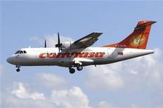 <p>L'Union européenne a interdit mardi la compagnie aérienne nationale vénézuélienne Conviasa de vol à l'intérieur de l'UE, en raison de doutes sur le respect des normes de sécurité. /Photo d'archives/REUTERS/Conviasa/Handout</p>