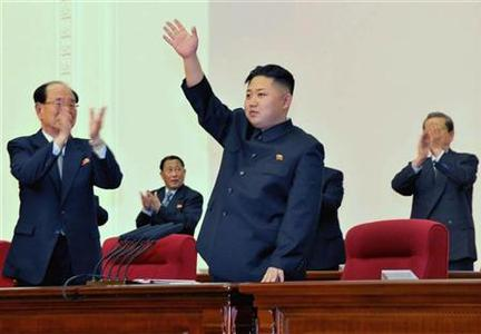 North Korean leader Kim Jong-Un (C) waves during the Fourth Conference of the Workers' Party of Korea (WPK) in Pyongyang April 11, 2012, and released on April 12, 2012. REUTERS/KCNA