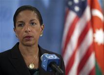 <p>المندوبة الامريكية لدى الامم المتحدة سوزان رايس تدلي بتصريحات في نيويورك يوم 14 ابريل نيسان 2012 - رويترز</p>