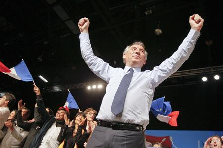 Francois Bayrou, centrist MoDem political party candidate for the 2012 French presidential election gestures during a campaign rally in Chassieu, near Lyon, April 16, 2012. REUTERS/Robert Pratta