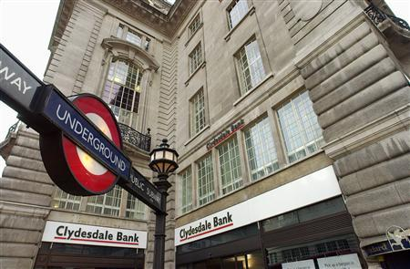 File photo of a Clydesdale Bank branch in London. Reuters-Handout