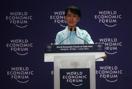 Myanmar's pro-democracy leader Aung San Suu Kyi speaks during the ''One-on-One Conversation with a Leader'' event as part of the World Economic Forum on East Asia at a hotel in Bangkok June 1, 2012. REUTERS/Chaiwat Subprasom