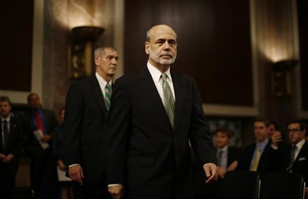 U.S. Federal Reserve Chairman Ben Bernanke arrives to testify at a Joint Economic Committee hearing on economic outlook and policy on Capitol Hill in Washington, June 7, 2012. REUTERS/Jason Reed