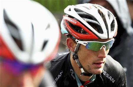Radioshack team rider Andy Schleck of Luxembourg climbs a hill during the 196 km Brabantse Pijl/Fleche Brabanconne cycling race in Overijse, near Brussels April 11, 2012. REUTERS/Francois Lenoir