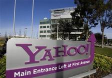 <p>Foto de archivo de la casa matriz de la firma Yahoo! en Sunnyvale, EEUU, feb 1 2008. Yahoo y el canal de televisión estadounidense CNBC han formado una asociación para compartir contenido, según dijeron ambas empresas el miércoles. REUTERS/Kimberly White</p>