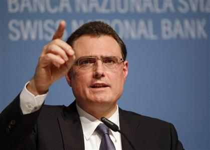 Swiss National Bank (SNB) Chairman Thomas Jordan speaks to the media during a news conference in Bern June 14, 2012. REUTERS/Ruben Sprich