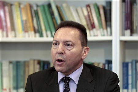 General Director of the Foundation for Economic and Industrial Research (IOBE) Yannis Stournaras addresses journalists during a news conference in Athens in this April 2, 2012 file photo. REUTERS/Yorgos Karahalis/Files