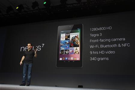 Hugo Barra, director of product management of Google, unveils Nexus 7 tablet during Google I/O 2012 Conference at Moscone Center in San Francisco, California June 27, 2012. REUTERS/Stephen Lam