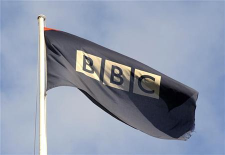 A logo for the British Broadcasting Corporation (BBC) is seen at its Broadcasting House in central London October 31, 2008. REUTERS/Toby Melville