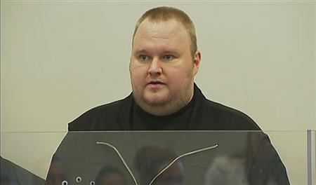 The founder of file-sharing website Megaupload Kim Dotcom, a German national also known as Kim Schmitz, is seen at court in Auckland in this still image taken from video January 23, 2012. REUTERS/TV3 via Reuters Tv