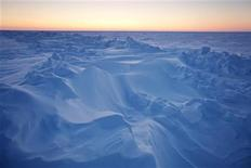 <p>تشكيلات ثلجية في المحيط المتجمد الشمالي بصورة التقطت يوم 18 مارس آذار 2011. تصوير: لوكاس جاكسون - رويترز</p>