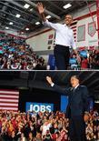 <p>Dans la dernière ligne droite de la campagne présidentielle américaine, Barack Obama et Mitt Romney étaient vendredi en déplacement dans les États du Midwest susceptibles de faire la différence en faveur de l'un ou de l'autre la semaine prochaine, alors que les deux candidats restaient au coude à coude dans les sondages à quatre jours de l'élection. /Photos prises le 2 novembre 2012/REUTERS/Larry Downing/Brian Snyder</p>