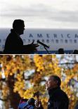 <p>A trois jours d'un scrutin qui s'annonce comme l'un des plus serrés de l'histoire américaine, Barack Obama et Mitt Romney ont sillonné samedi les Etats pivots et lancé un ultime appel à la mobilisation de leurs partisans le 6 novembre. Le président démocrate et le candidat républicain se sont notamment succédé à quelques heures d'intervalle dans la petite ville de Dubuque dans l'Iowa. /Photos prise le 3 novembre 2012/REUTERS/Jim Young/Larry Downing</p>