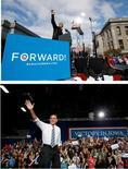 <p>Le président américain Barack Obama et son rival républicain Mitt Romney, que les derniers sondages donnent à égalité, ont mis dimanche la dernière main à la pâte à 48 heures d'un scrutin dont l'issue reste plus ouverte que jamais, tentant de rassembler leurs partisans et de courtiser les derniers indécis dans quelques Etats-clés./Photos prises le 4 novembre 2012/REUTERS/Jason Reed/Jim Young</p>