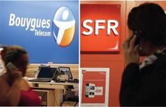 <p>Bouygues Telecom a confirmé lundi avoir des discussions avec son concurrent SFR sur la possibilité d'un partage de leurs réseaux mobiles, tout en précisant qu'elles portaient sur les zones du territoire à faible densité de population. /Photos prises les 14 et 21 novembre 2012/REUTERS/Christian Hartmann/Régis Duvignau</p>