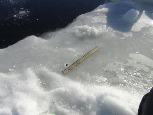 A ruler is used to examine fragments said to be from a meteor, near an ice hole on lake Chebarkul, some 50 miles west of Chelyabinsk, February 15, 2013. REUTERS-Chelyabinsk region Interior Ministry