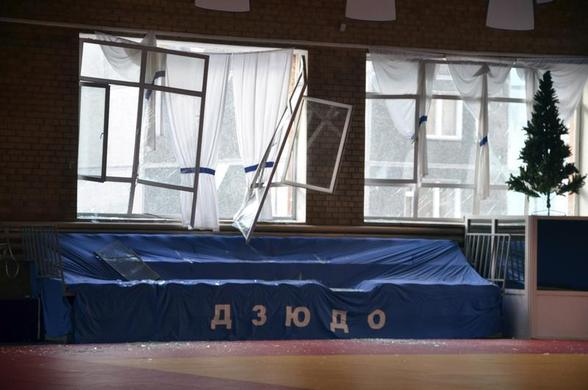 Broken windows and debris are seen inside a sports hall following sightings of a falling object in the sky in the Urals city of Chelyabinsk, Russia, February 15, 2013. REUTERS-OOO Spetszakaz