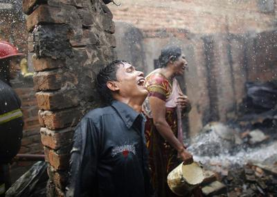 Slum fire aftermath
