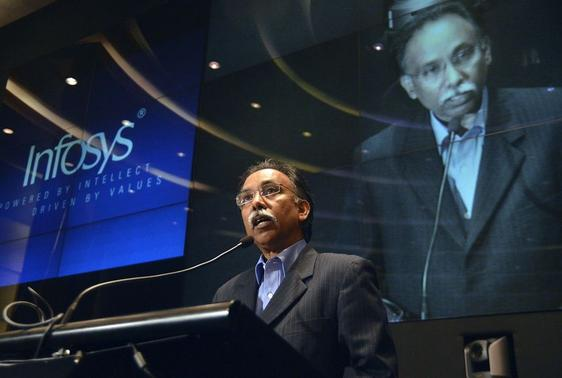 S.D. Shibulal, chief executive officer of Infosys, speaks during the announcement of the company's quarterly financial results at their campus in Bangalore April 15, 2014. REUTERS/Stringer