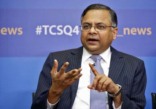 Tata Consultancy Services (TCS) Chief Executive Natarajan Chandrasekaran speaks during a news conference in Mumbai April 16, 2014. REUTERS/Stringer