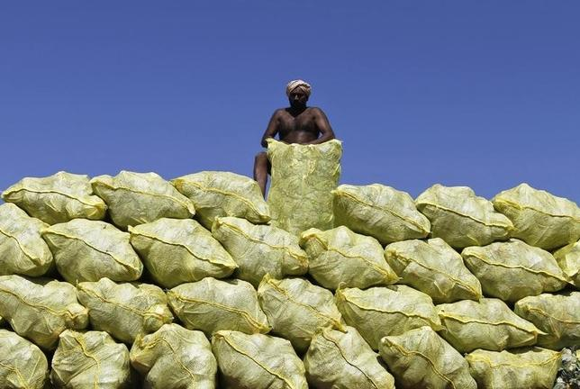 A labourer unloads bags filled with cabbage from a supply truck at a vegetable wholesale market in Chennai August 23, 2013. REUTERS/Babu/Files