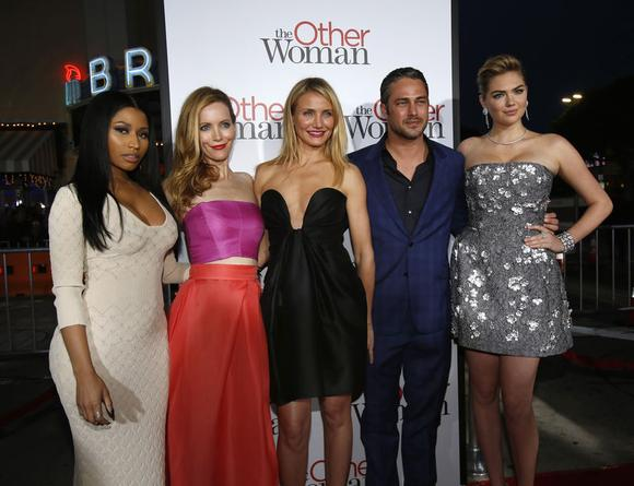 Cast members (from L-R) Nicki Minaj, Leslie Mann, Cameron Diaz, Taylor Kinney and Kate Upton pose at the premiere of the film ''The Other Woman'' in Los Angeles, California April 21, 2014. The movie opens in the U.S. on April 25. REUTERS/Mario Anzuoni