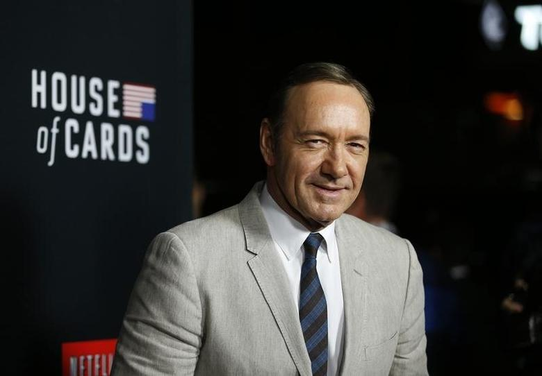 Cast member Kevin Spacey poses at the premiere for the second season of the television series ''House of Cards'' at the Directors Guild of America in Los Angeles, California February 13, 2014. Season 2 premieres on Netflix on February 14.   REUTERS/Mario Anzuoni