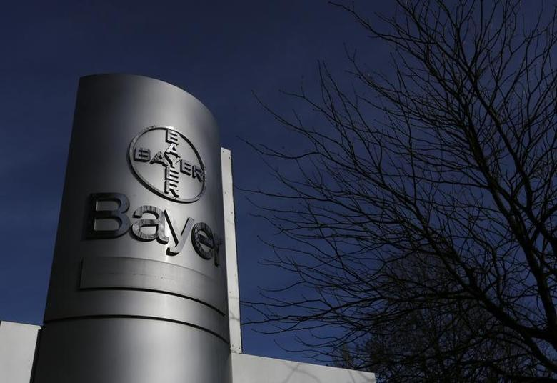 The logo of Bayer AG is pictured at the Bayer Healthcare subgroup production plant in Wuppertal February 24, 2014. REUTERS/Ina Fassbender